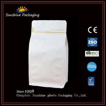 Oem colorful printed White kraft paper bag with the handle stand up zipper bags