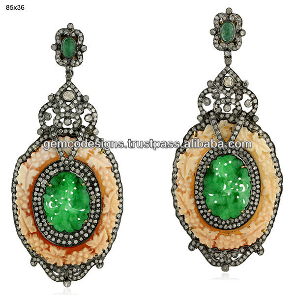 Natural Emerald Pave Diamond Carved Jade Gemstone Earrings, 18k Gold Diamond Gemstone Dangle Earrings, Wholesale Jewelry