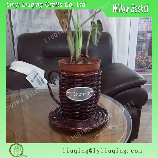 Factory wholesale round Christmas gift tea cup red willow/wicker basket garden basket with handle for planting
