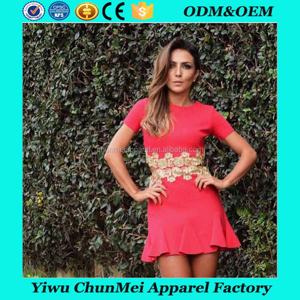 Short Sleeve Embroidered Ladies Mini Dresses Summer Clothing Manufacturer Wholesale Fashion Women Apparel