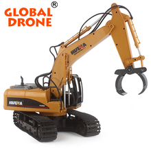 HuiNa toys 570 RC Car 2.4G 1/12 RC Excavator 16 Channels Metal Charging toy wheel excavator Grabbing Machine elevator toy