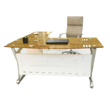 Temper Glass Top Combinatin Executive Office Table With Hardware Legs