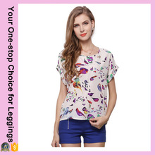 2016 Newest Bird Print Chiffon Women Tee Shirt Plus Size Hot-selling Tops