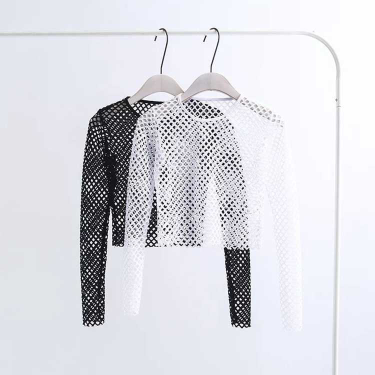 S M Sexy Women's Elastic Nylon-Spandex Long Sleeve Fishnet Layer Blouse Top