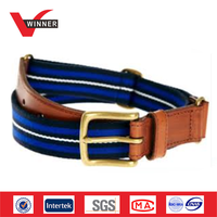 2015 Fashion Leather Trimming Elastic Woven Belt