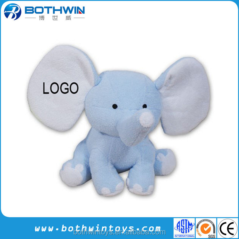 "Custom 8"" Big Ears Embroidered Personalized Pink Plush Elephant Toy"