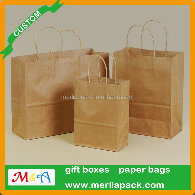 Brown Kraft Paper Christmas Bags Gift Wedding Favor Bag SOS Flat Bottom Bags Strong/Shop/Gift/Fashion/Party