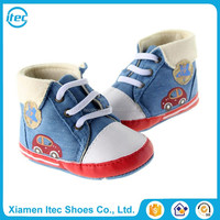 Fashion quality baby boys high top canvas sneaker shoes for infant