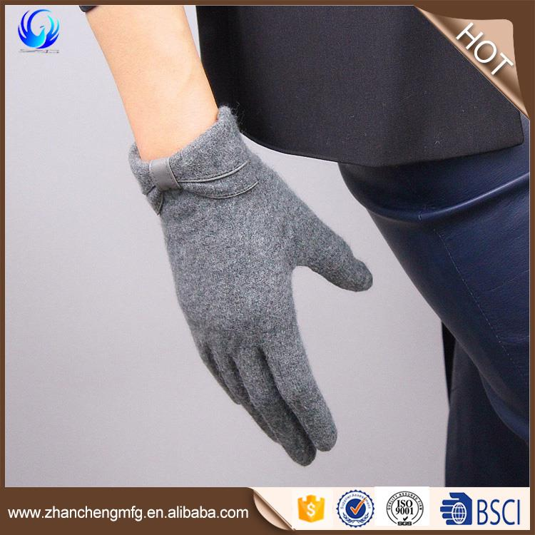 classics women's top wool glove knitting grey color warmer
