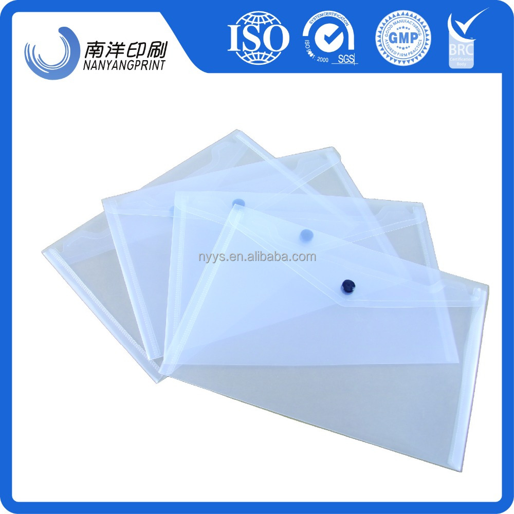 Envelop shaped transparent plastic PVC document pouch for students with button