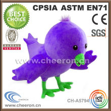 Undertake various OEM plush stuffed cute purple bird toy