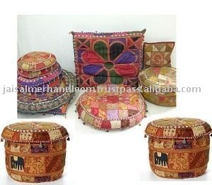 mirror work and patchwork ottomans