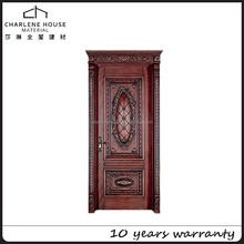 Interior entrance solid wooden main door with fancy carved and buckle line design from China Manufactory