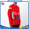 Mens clothing oem manufacturers red cotton long sleeves shirts sports jersey new model