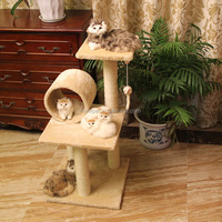 In many styles modern design climbing scratch sisal cat tree cat scratcher with bird toy