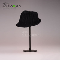 Wholesale unisex pure black embossed fedora hats