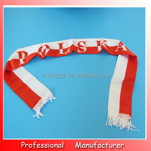 Hot sellling European style flag scarf,Poland scarf yiwu manufacturer,football scarf