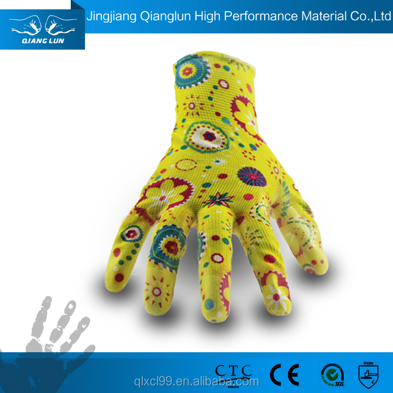 Qianglun pretty gardening pu coated ladies hand gloves