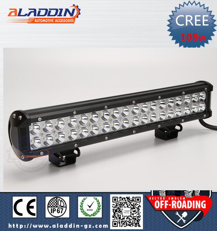 "17"" Dual row high power 108w led light bar, 12V 4x4 led light bar in automotive"