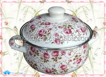 FAD,LFGB certificate cast iron enamel cookware with high quality enamel lid pp knob and all body decal
