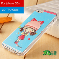 3d relief printing Cartoon phone cover for iphone 5s 3D tpu phone case for ip 5red cap sweet girl back Cover case for iphone5/5s