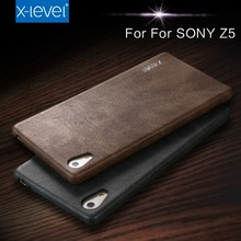 X-Level Fashion Aliexpress Hot Sale Synthetic Leather Vintage Mobile Back Cover Case For Sony Z5+