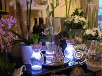 Silver Color Centerpieces for wedding table Under Glass Vase Light