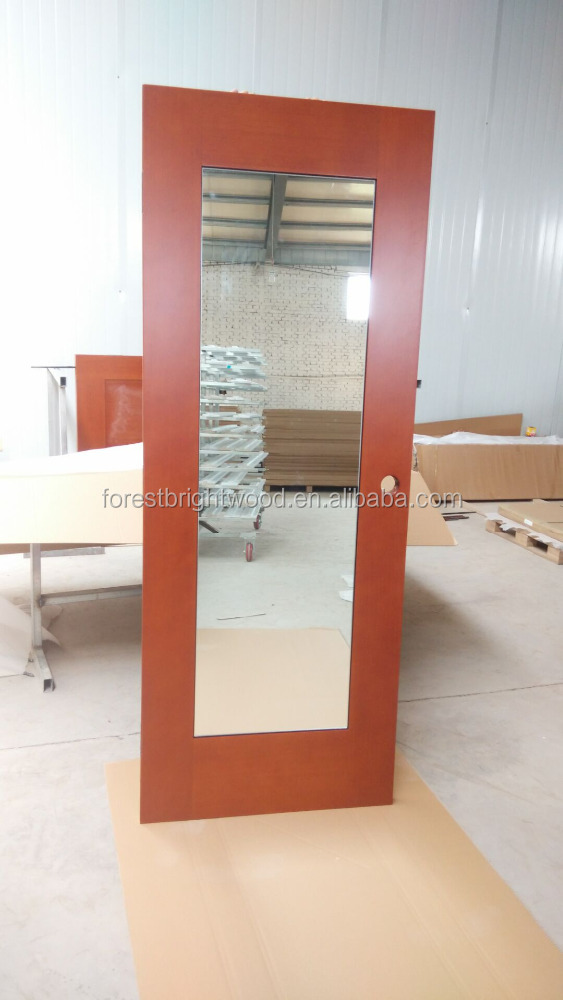 Embassy Suite Mahogany Stained Hinged Closet Door with Mirror Inlay