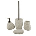 Stone finish white 4PCS High quality resin bathroom accessories set,cheap bathroom accessories sets