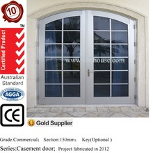 EBA AS2047 residential aluminum double entry doors arch main door design exterior french doors with blinds