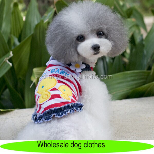 Wholesale dog clothes, cute dog tank tops cloth with chickabiddy pattern, striped dog clothing