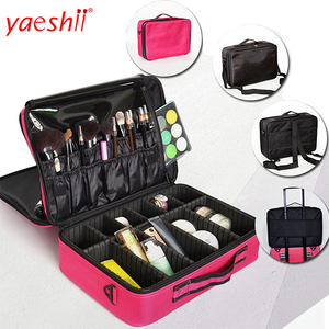 Yaeshii Portable Makeup Train Case 3 Layer Cosmetic Travel Storage Organizer Bag with compartments