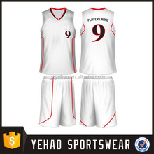 white Top quality tight fit unisex custom basketball uniform