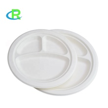 2019 round biodegradable disposable sugarcane bagasse 3 compartment food <strong>plate</strong>