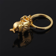 China factory custom wholesale cute gold elephent metal key chain keyring parts