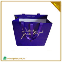Purple Luxury Paper Hand Bag Shopping Packaging Gold Logo Custom Printing