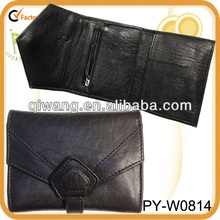sheepskin bubble 3-fold leather wallet purse