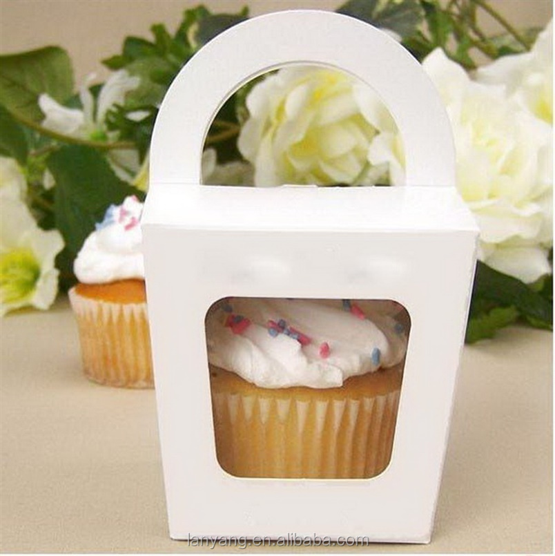 Simple Cupcake Box with Handle Single Cupcake <strong>Boxes</strong> Pudding Case with Lining