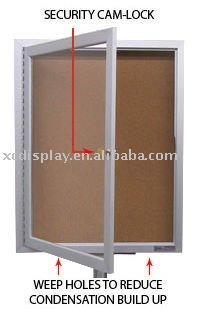 Outdoor Enclosed Bulletin Board Swing Cases with Leg Posts (Single Door)