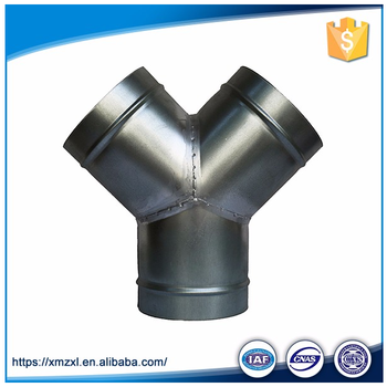 Y style three ways Galvanized Steel Round Skin Spiral Duct
