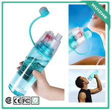 0.6L 0.4L Protable Insulated Leak Proof Sports Spray Water Bottle with Spray Mist Plastic Drink Bottle for Kids Students