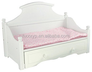 Sweet Girl White Trundle Bed with Pink Floral Mattress Wooden 18 inch Doll Furniture