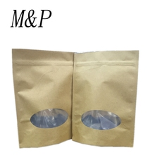 natural brown Kraft paper Custom printed stand up ziplock pouch bag with window