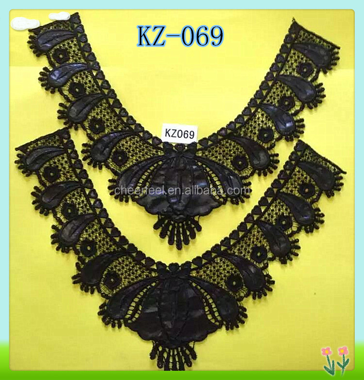 Guangzhou cheerfeel lace patch work in blouse neck designs