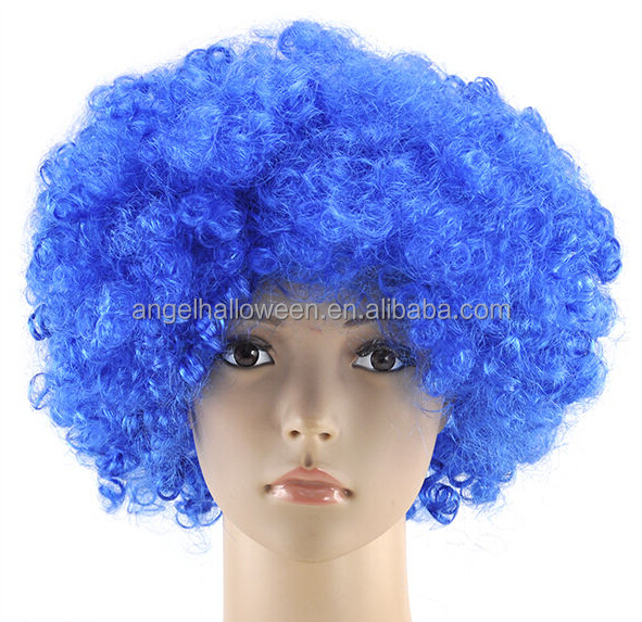 Cheap Curly Wigs Wholesale Football Fan Wigs Blue Cosplay WigsFW4073