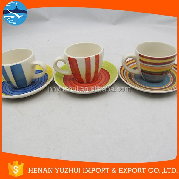 180cc coffee cup with saucer, casual coffee cup, 12 pcs ceramic coffee set