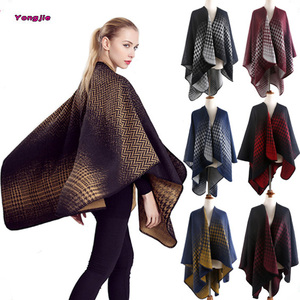 New Styles Fashion Ladies Winter Thick Multi Color Cashmere Houndstooth Blanket Scarf Poncho Shawl Wholesale