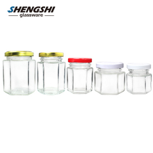 Unique air seal hexagonal honey jars hermetic glass storage jar with stainless steel lid