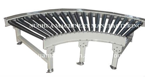 Steel Single Chain Drive Curved steel Roller Conveyor