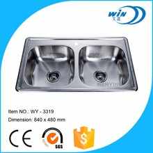 Oman 2 bowl stainless steel sink with drainer